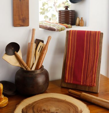 Honeycomb Cotton Kitchen Towel Red