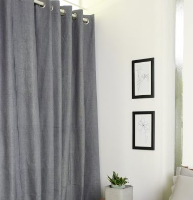 Chambray Cotton Curtain Drizzle
