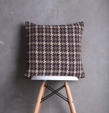 Houndstooth Cotton Cushion cover Beige Brown 18