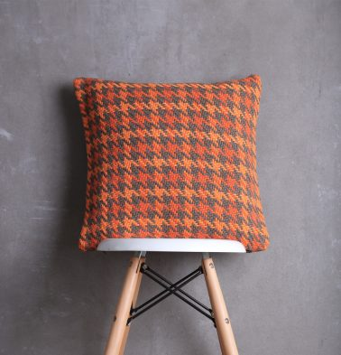 Houndstooth Cotton Cushion cover Burnt Orange  18