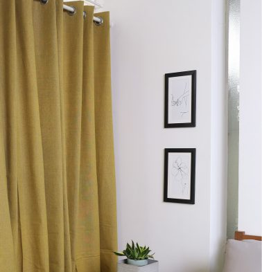 Chambray Cotton Curtain Cornsilk Yellow/Grey