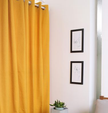 Chambray Cotton Curtain Sunflower Yellow