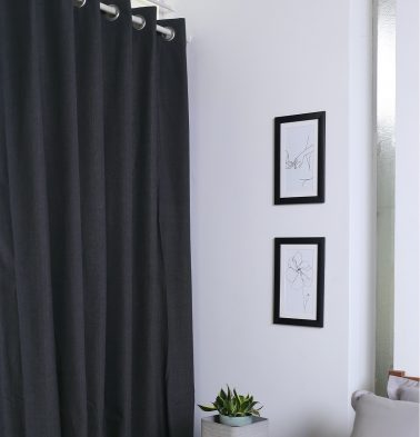 Chambray Cotton Curtain Urban Chic Black