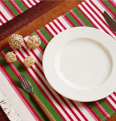 Handwoven Stripe Cotton Red/Green Table Mats - Set of 6