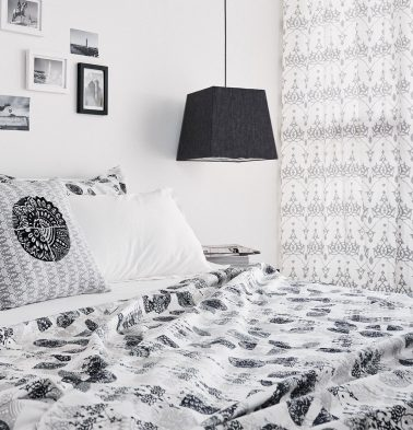 Scattered Semi Print Cotton Bed Sheet – Black- With 2 pillow covers