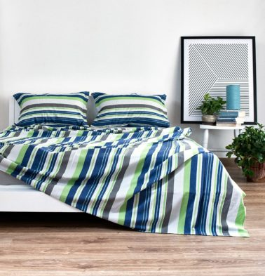 Woven Stripes Cotton Bed Sheet - Brilliant Green/Blue- With 2 pillow covers