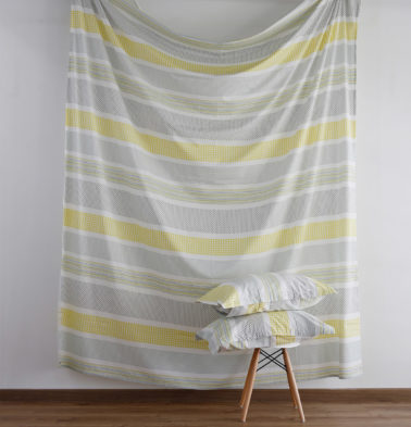 Broad Border Print Cotton Fitted Bedsheet Yellow