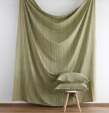 Woven Stripes Cotton Fitted Bedsheet- Green