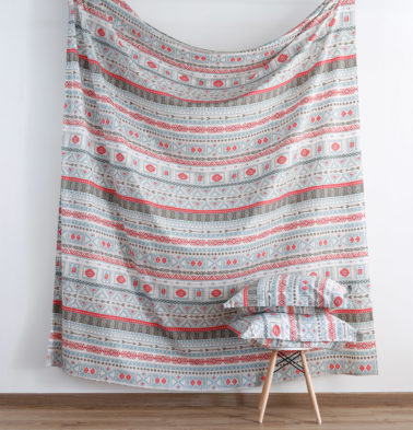 Aztec Print Cotton Fitted Bedsheet Red