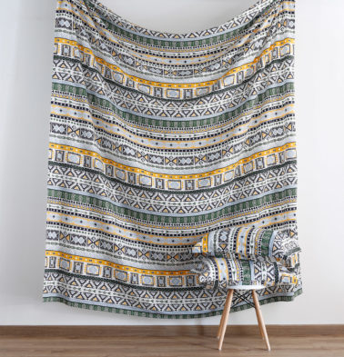 Aztec Print Cotton Fitted Bedsheet Green