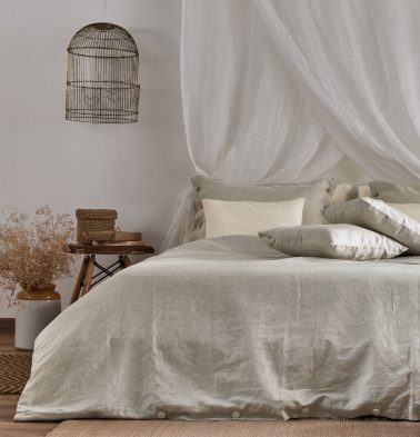 Linen Bed Sheet - Silver Grey- With 2 pillow covers