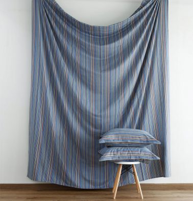 Woven Stripes Cotton Fitted Bedsheet- Blue