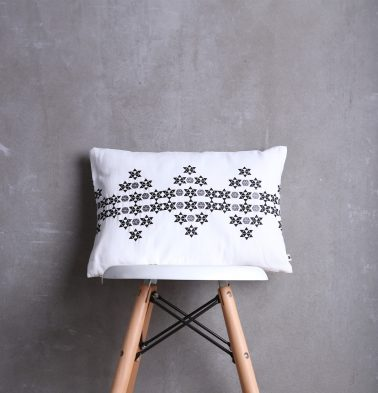 Flora Embroidered Cotton Cushion cover Black/White 12