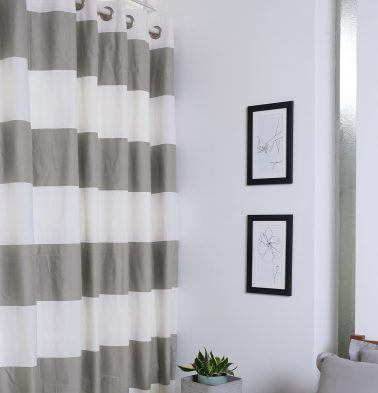 Broad Stripe Cotton Curtain Grey/White