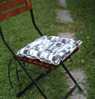 Brush Stroke Cubes Cotton Chairpad Black