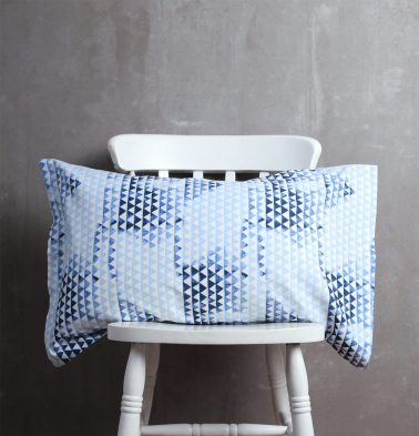 Star Triangle Cotton Pillow Cover Blue
