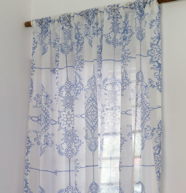 Classic Lines Sheer Cotton Curtain Blue