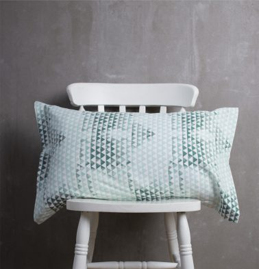 Star Triangle Cotton Pillow Cover Green