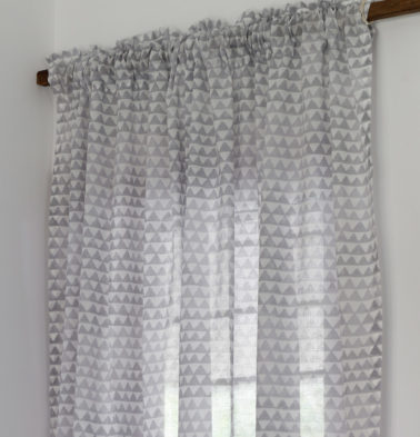 Star Triangles Sheer Cotton Curtain Grey