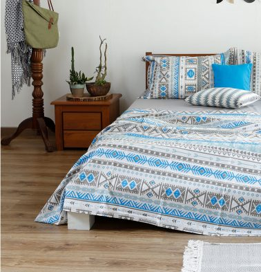 Aztec Cotton Bed Sheet - Blue - With 2 pillow covers