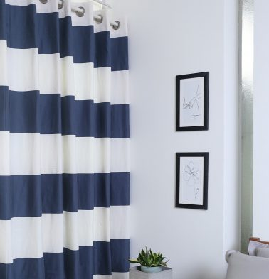 Broad Stripe Cotton Curtain Darkblue/White