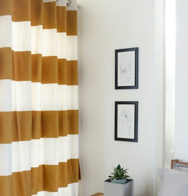 Broad Stripe Cotton Curtain Mustard/White