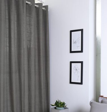 Chambray Cotton Curtain Nickel Grey