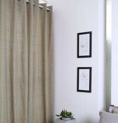 Chambray Cotton Curtain Sesame Beige