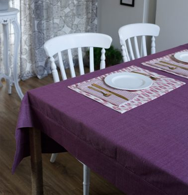 Chambray Cotton Table Cloth Argyle Purple 60