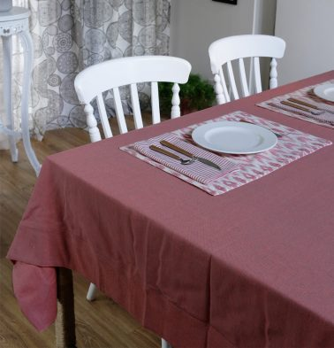 Chambray Cotton Table Cloth Chrysanthemum Pink 60