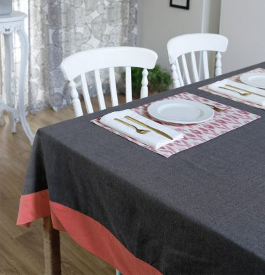 Chambray Cotton Table Cloth Grey/Coral 60