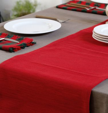 Handwoven Cotton Table Runner Red 14