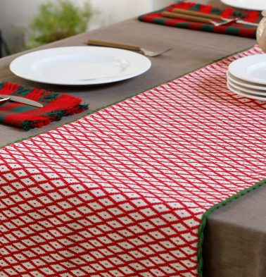Christmas Handwoven Cotton Table Runner Red/Green 14
