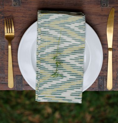 Ikat Handwoven Cotton Table Napkins Shades of Green