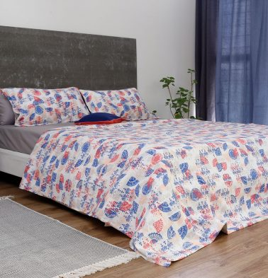 Scattered Semi Print Cotton Duvet Cover Red