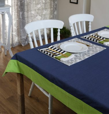 Solid Cotton Table Cloth Lime Green/Blue 60