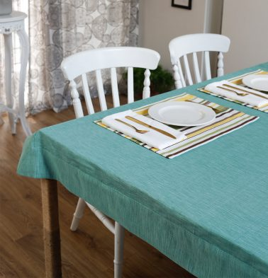 Textura Cotton Table Cloth Teal Blue 60