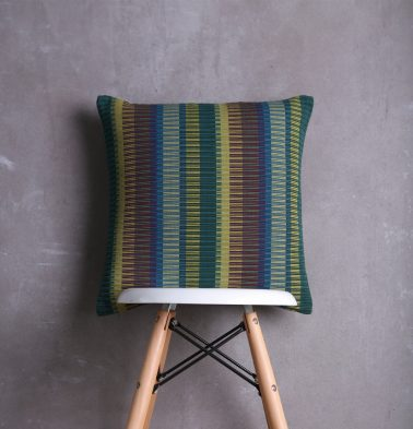 Handwoven Stripes Cotton Cushion cover Ribbed Green 18