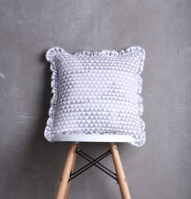 Star Triangle Cotton Cushion cover with Frills Grey 16