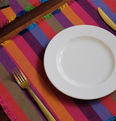 Handwoven Stripes Cotton  Table Mats With Fringes Multicolor - Set of 6