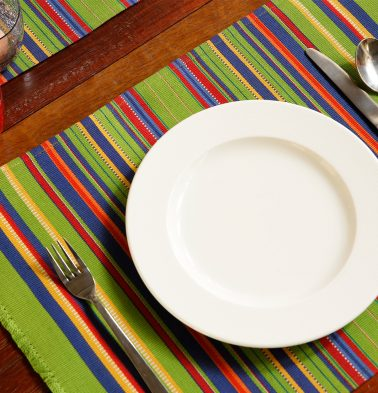 Handwoven Stripes Cotton Table Mats - Parrot Green - Set of 6