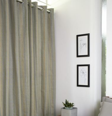 Broken Stripes Cotton Curtain Gray Green