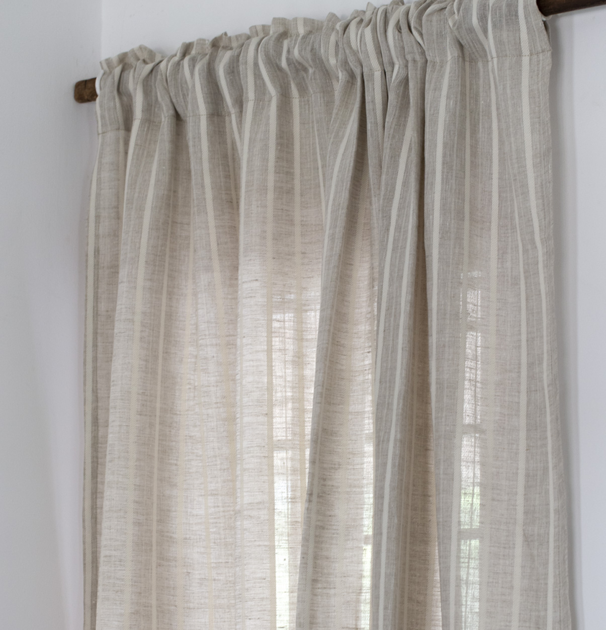 Fine Stripe Linen Custom Curtain Beige White Thoppia