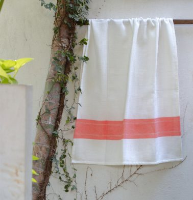 Honeycomb/twill Cotton Bath towels Coral Red