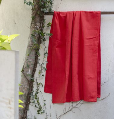 Honeycomb Cotton Bath towels Fiery Red