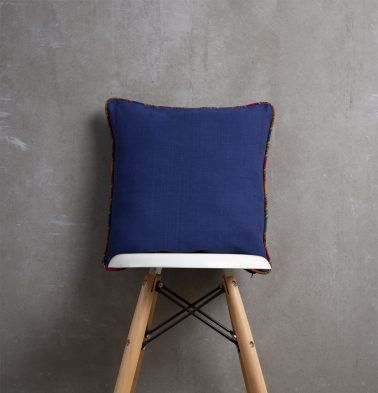 Indigo Cotton Cushion cover with Vintage Piping 16