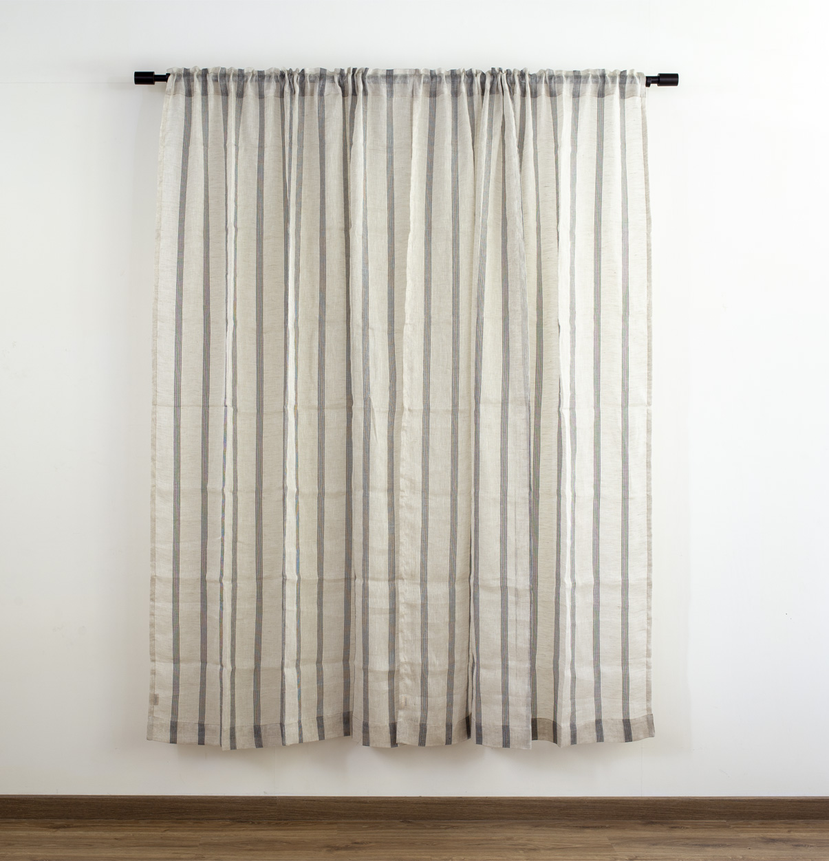 Stripes Linen Curtain Natural Black Thoppia