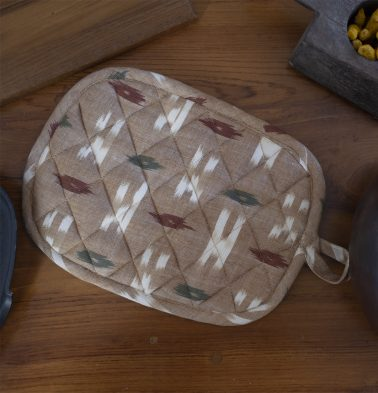 Ikat Handwoven Cotton Pot Holder Beige/Multicolor