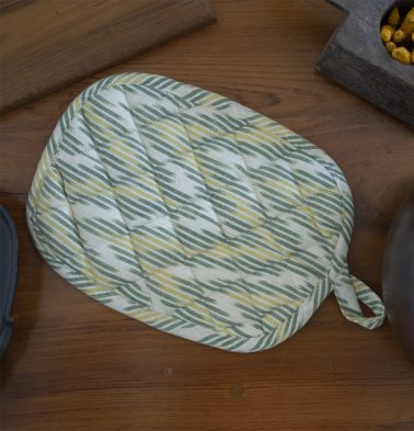 Ikat Handwoven Cotton Pot Holder Shades Of Green
