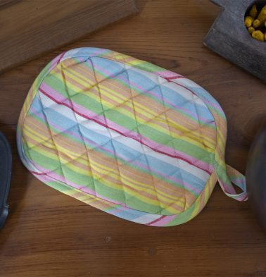 Pastel Stripe Cotton Pot Holder Multicolor